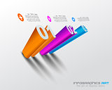 3D Infographic design template with shadows.