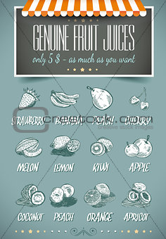 Retro style template for genuine fruit juices menu