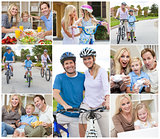 Montage of Happy Active Family Healthy Eating