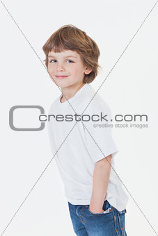 Young Happy Boy Smiling in Jeans and T-Shirt