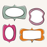 Set of doodle, hand drawn vector frames with white background and empty space to put your own text or picture.