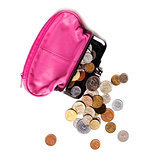 Pink leather purse and several different coins