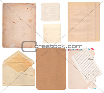 Set of old paper sheets, envelope and card