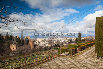 Gardens in Granada in winter