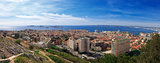 Panoramic aerial view on bay Marseille from mountain