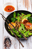 Scallops with Noodles and Vegetables