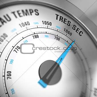 French Barometer Dial Set to Very Dry, Weather Forecast