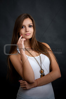 beautiful girl posing in studio