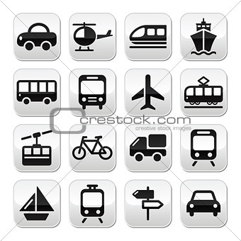 Transport, travel vector buttons set isoalated on white
