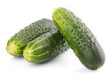 Three cucumbers isolated on white