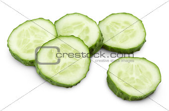 Sliced of green cucumber isolated on white