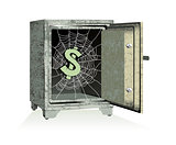 Vector. Dollar sign on spiderweb inside of an open safe