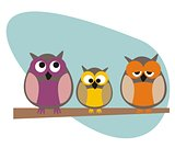 Vector funny, staring owls family sitting on branch on a sunny day illustration isolated on white background