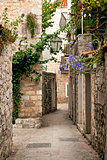 budva old town cobbled street in montenegro
