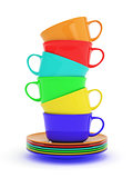 Colored cups in a row
