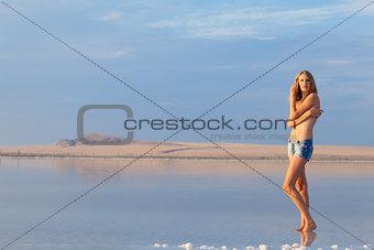 girl in a salt lake