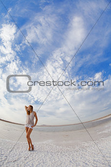 girl in a salt lake