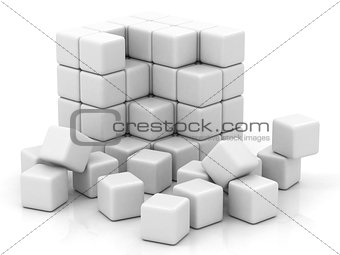 cube white assembling from blocks