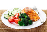 Baked Salmon with Vegetables and Fork