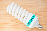 Energy saving light bulb on hardwood