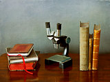 Microscope and ancient books