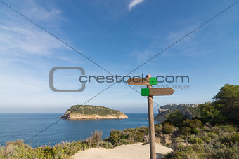 Hiking signpost at Javea