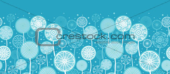 Abstract Dandelion Plants Horizontal Seamless Pattern Background