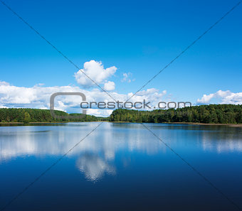 Summer Landscape with Lake and Clouds