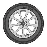 Car Wheel, vector illustration