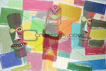 Totem Colorful Cubism Background