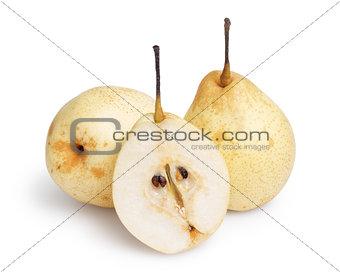 three whole nashi pears