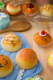 sweet vanilla bun cake bread with pastry decorations as backgrou