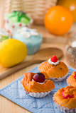 fruit tart bread mixture with wooden background of raw materials