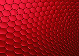 3d abstract backdrop in red hexagon
