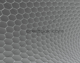 3d abstract backdrop in gray silver hexagon