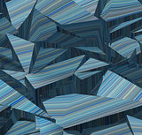 3d fragmented stripe pattern  blue backdrop