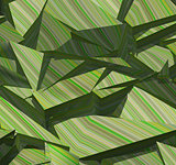 3d fragmented stripe pattern  green backdrop