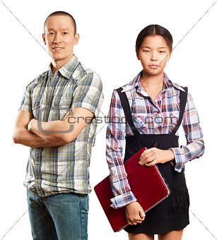 Asian business Woman and Man