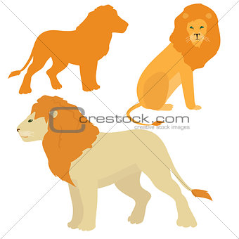 Cartoon lions vector set