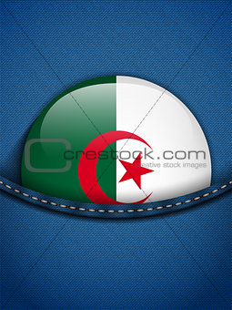 Algeria Flag Button in Jeans Pocket