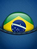 Brazil Flag Button in Jeans Pocket