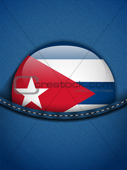 Cuba Flag Button in Jeans Pocket