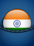 India Flag Button in Jeans Pocket