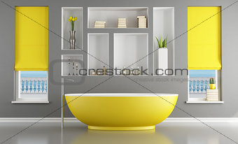 Contemporary bathroom with yellow bathtub