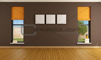 Empty brown living room