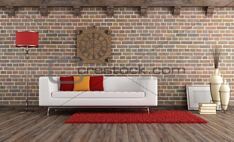 Vintage living room with modern couch