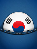 South Korea Flag Button in Jeans Pocket