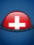 Switzerland Flag Button in Jeans Pocket