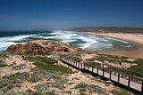 Wooden walkway at Bordeira Beach, Algarve,  Portugal