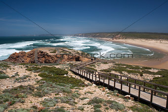 Wooden walkway at Bordeira Beach, Algarve,  Portugal